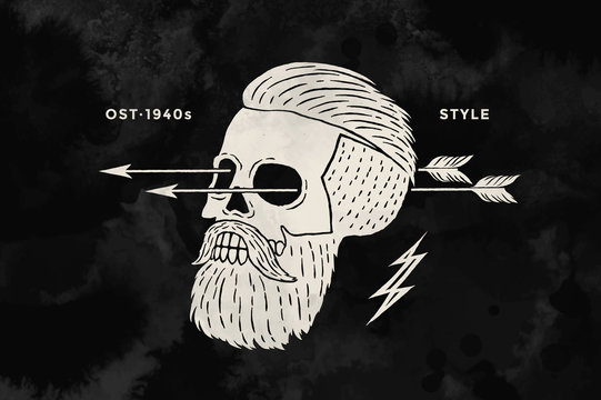 Poster of vintage skull hipster label. Retro old school set for t-shirt print. Black and white. Vector Illustration