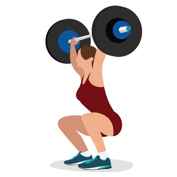 woman female weight lifting training lift bar strength workout vector illustration strong body