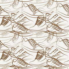 Vector seamless pattern of variety of men's shoes
