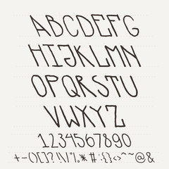 English hand-drawn alphabet of capital letters tilted to the left