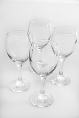 Wineglasses on white table closeup