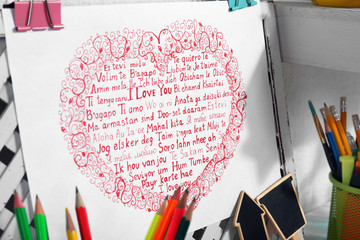 Bright picture of heart with text, close up