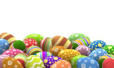 3d illustration. Easter eggs on a white background.
