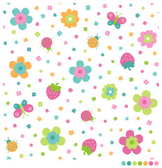 Cute seamless vector pattern with flowers, butterflies, strawberries, ladybugs in childish style.