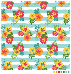 Colorful seamless vector pattern with hibiscus and palm leaves on stripes background.