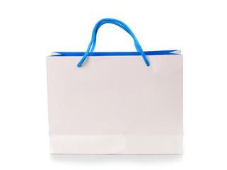 white shopping bag isolated on white background