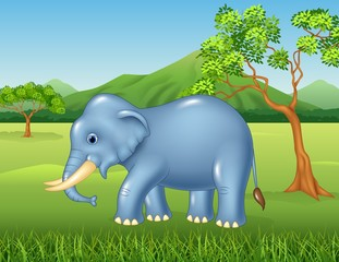 Cartoon African elephant in the jungle