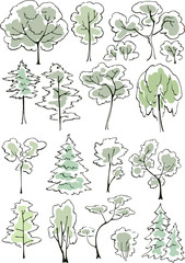 Set of hand drawn green sketchy trees