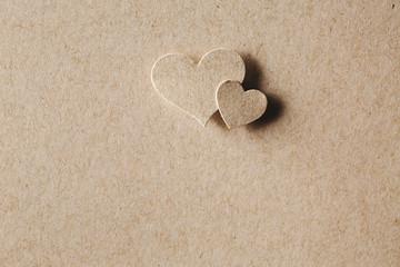 Handmade paper cut hearts