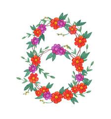 Watercolor flower wreath.