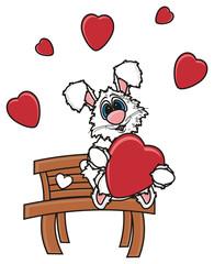 cartoon, isolated, pet, rabbit, toy, baby, pet, white,  heart, love, romance, Valentine, Valentine's Day, bunny, hearts