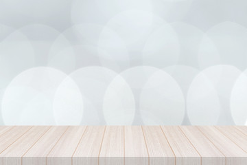 Perspective white wood table top isolate with light bokeh background, Elegant Design with Space for placement your background,Template mock up for montage your products