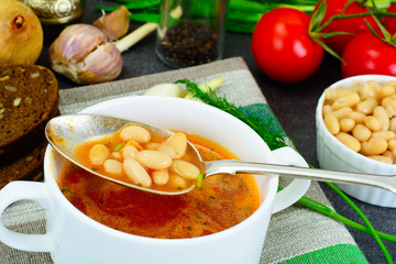 Sicilian Tomato Soup with White Beans. National Italian Cuisine