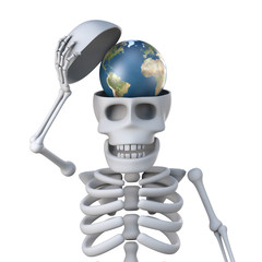 3d Skeleton has a globe of the Earth in his skull