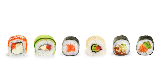 Photo sur Aluminium Sushi bar Sushi rolls isolated on white background.