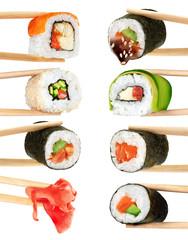 Sushi rolls isolated on white background. Chopsticks.