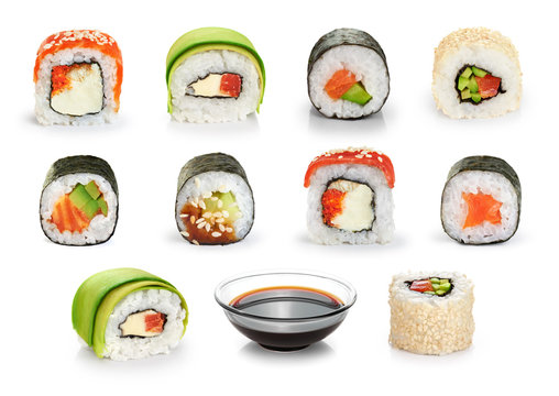 Sushi rolls and soy sauce isolated on white background.
