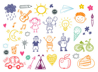 Happy kids doodle set with toys and tools, children drawings
