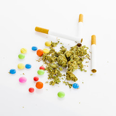 illegal drugs. Narcotic drugs. Marihuana, drugs, pills, narcotic