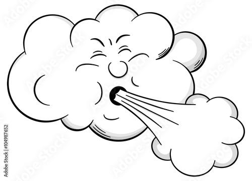 Cartoon Wolke bäst kräftigen Wind \