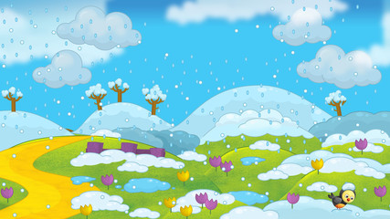 Cartoon winter scene - image for different usage - illustration for children