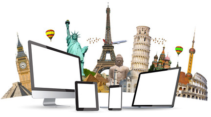 Famous monuments of the world and tech devices on white backgrou