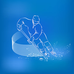 Hockey player races with the puck and a stick. Sports background
