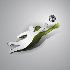 Soccer. Goalkeeper catches the ball. Sport paper cut design on a gray background.
