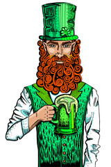 Irish leprechaun with a mug of beer