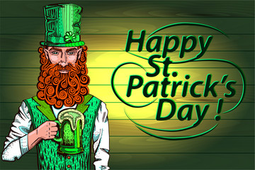Leprechaun with beer, Happy St Patrick's Day