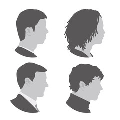 various races men profile icon set, face as seen from the side, avatar icons, vector illustration