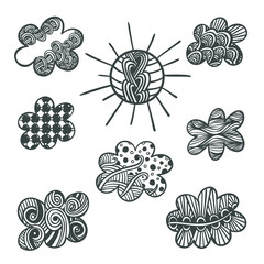 Adult coloring book page with zentangle sun and clouds