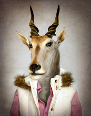 Poster Hipster Animals Goat in clothes. Digital illustration in soft oil painting style