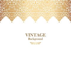 Vintage vector card in islamic style, seamless lace ornament