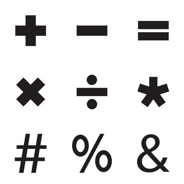 Basic Mathematical sign, Vector icon set.