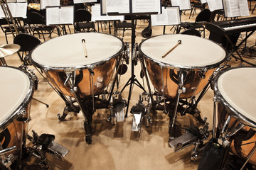 Timpani in the orchestra closeup