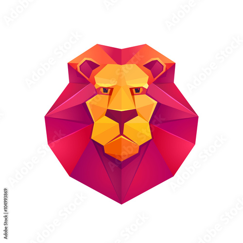 Colorful Origami Lion Low Poly Character
