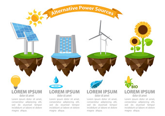 Infographic alternative power sources, the energy infographic, modern infographic template, energetic, infographic with ribbon