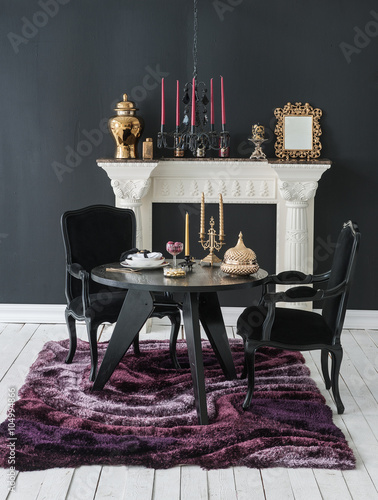 Uxury Interior Decor With Black Wall And Fireplace Chair Gold Frame Classic Dining Room Style