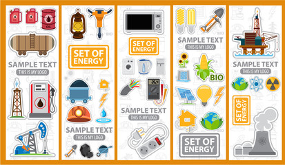 Set of energetics icons and logos, energy, energetics, stickers
