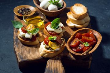 italian antipasti on a cutting board