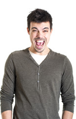 Young man shouting expression on white background
