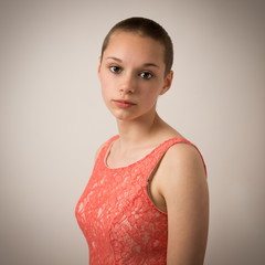 Beautiful Young Teenage Girl With Shaven Head
