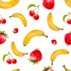 Watercolor seamless pattern with strawberries, cherries and bananas. Hand drawn tropical  design. Vector summer fruit illustration.