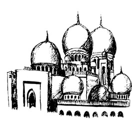 white dome of a mosque in Abu Dhabi ink sketch hand-drawn vector illustration isolated