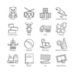 A collection of minimalistic thin line icons for various toys' kinds and categories and activities for kids, babies and toddlers, boys and girls.