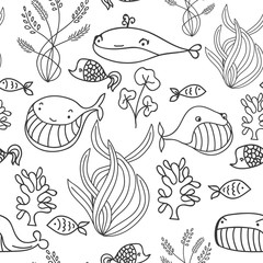Black and white oceanic sea seamless pattern with cute whale. Great background for sea party invitation or tile textile.