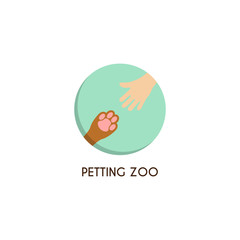 Petting zoo logo template. Creative vector template of design logo of petting zoo, logo for pet shop. Icon of a palm of the child and icon of a paw of a dog in the form of circle.