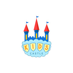 Kids castle playground logo. Creative vector template of design logo of kids place, logo for kids playground. Icon of a castle with a cloud.