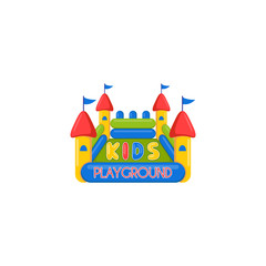 Kids inflatable castle playground logo. Creative vector template of design logo of kids place, logo for kids playground. Icon of a inflatable castle.